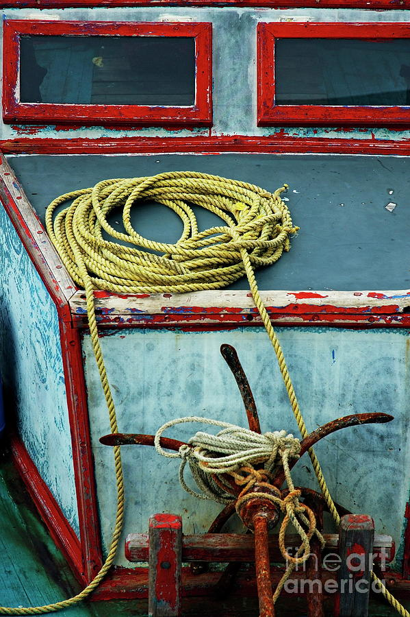 Anchor Photograph - Ropes And Rusty Anchors On A Boat Deck by Sami Sarkis