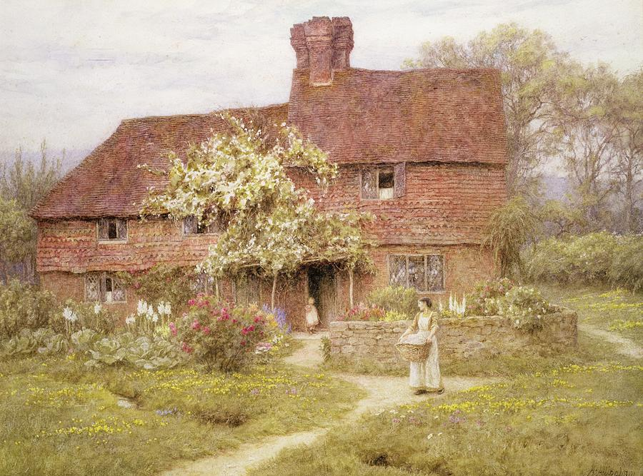 Rose Cottage Painting By Helen Allingham