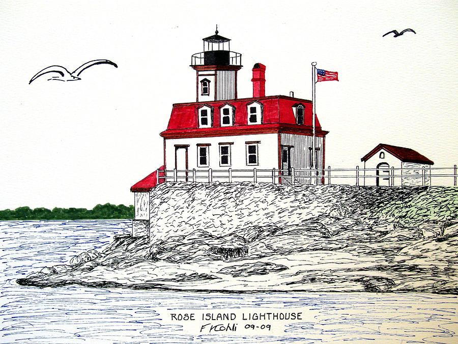 Lighthouse Artwork Drawing - Rose Island Lighthouse by Frederic Kohli
