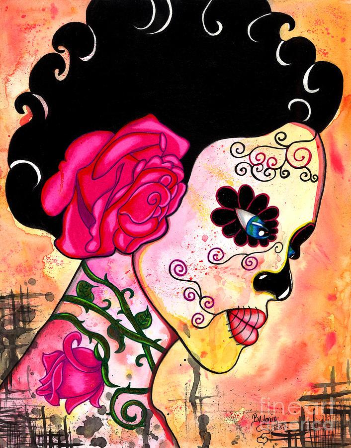 Sugar Skull Painting - Rose Noose by B Marie