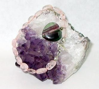 Rose Quartz Jewelry - Rose Quartz And Rainbow Fluorite Heart Bracelet by Stephanie  Myers