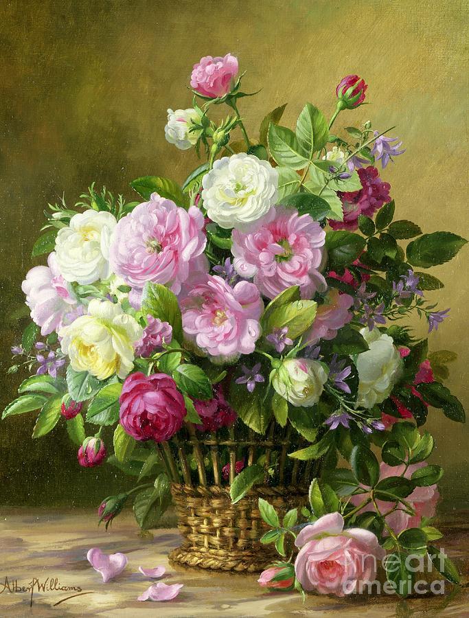 Rose; Roses; Still Life; Flower; Flowers; Arrangement; Pink; White; Basket; Leafs; Rose Petals On Floor; Pink Rose On Floor Painting - Roses  by Albert Williams