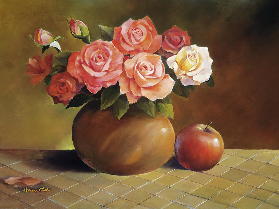 Apple Painting - Roses And Apple by Han Choi - Printscapes