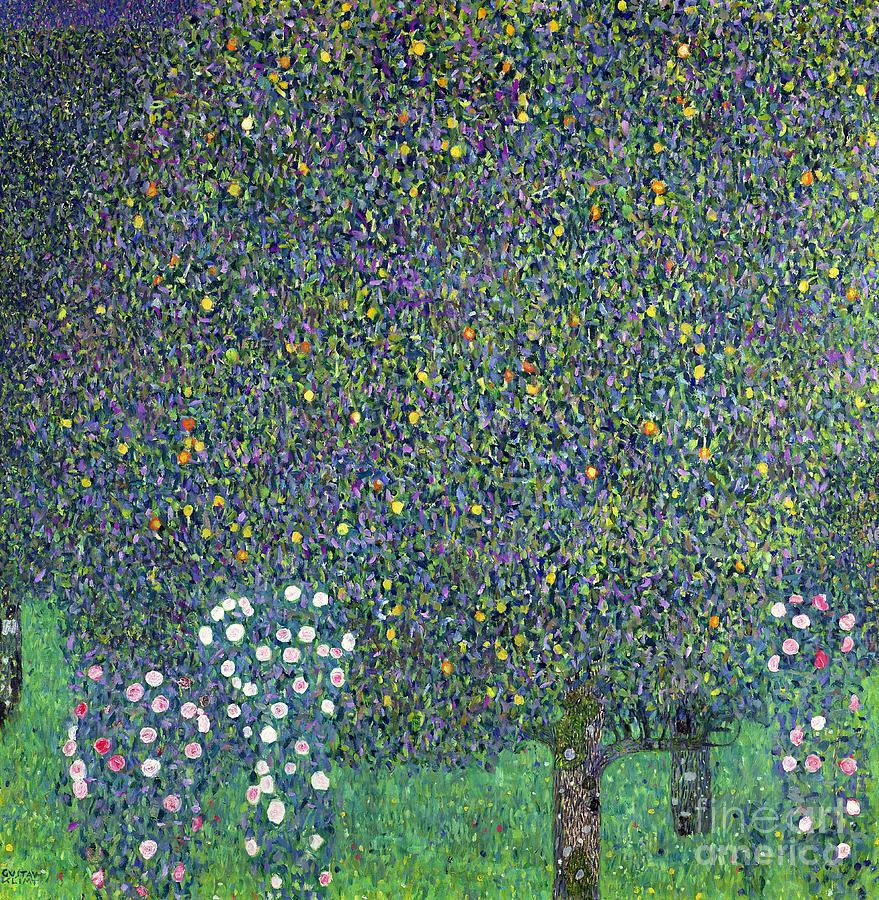 Roses Painting - Roses Under The Trees by Gustav Klimt
