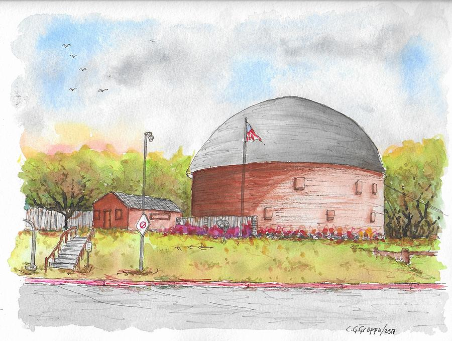 Round Barn In Route 66, Arcadia, Oklahoma Painting
