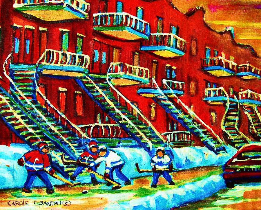 Hockey Painting - Rowhouses And Hockey by Carole Spandau
