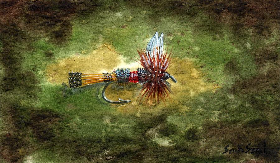 Fly Fishing Flies Royal Coachman Fish Lure Painting - Royal Coachman by Sean Seal