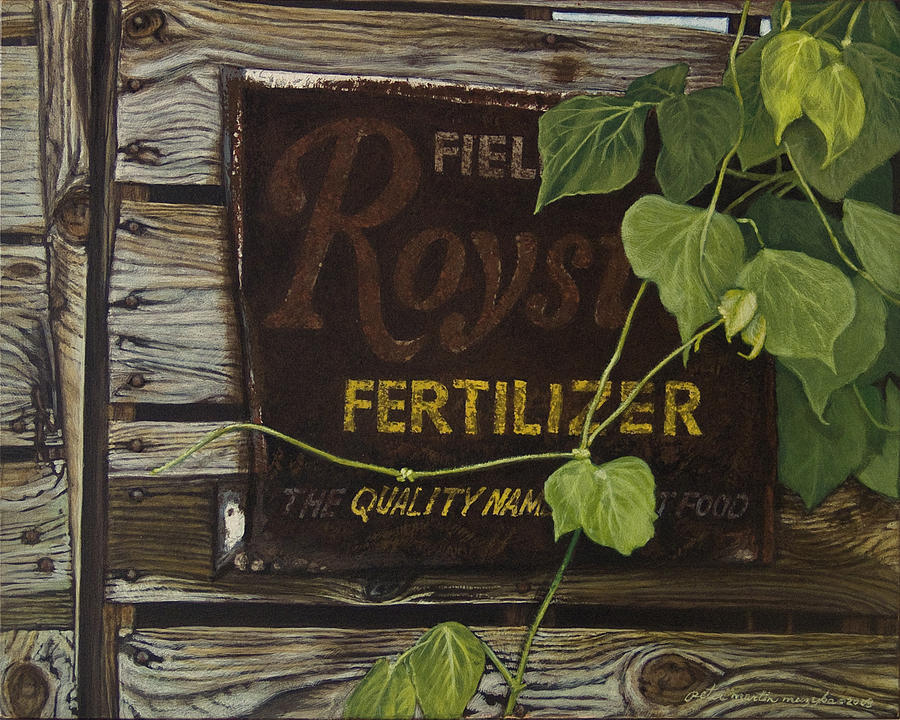 Landscape Painting - Royston Fertilizer Sign by Peter Muzyka