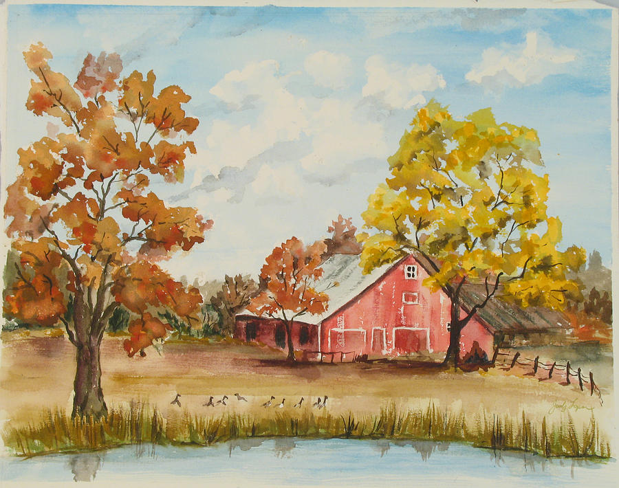 Bristow  Painting - Rt 66 Barn In Bristow Oklahoma by Judy Loper