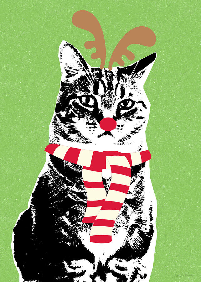 Rudolph The Red Nosed Cat- Art By Linda Woods Mixed Media