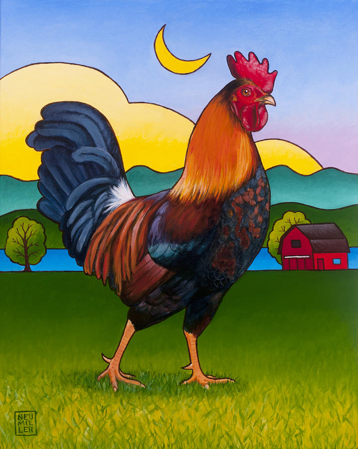Rooster Painting - Rufus The Rooster by Stacey Neumiller