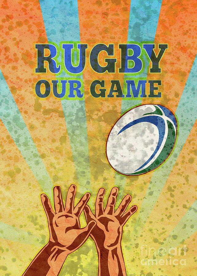 Rugby Player Hands Catching Ball Digital Art
