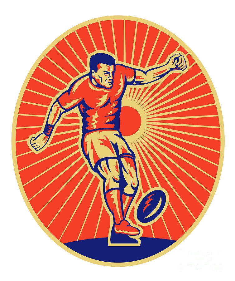 Rugby Player Kicking Ball Woodcut Digital Art