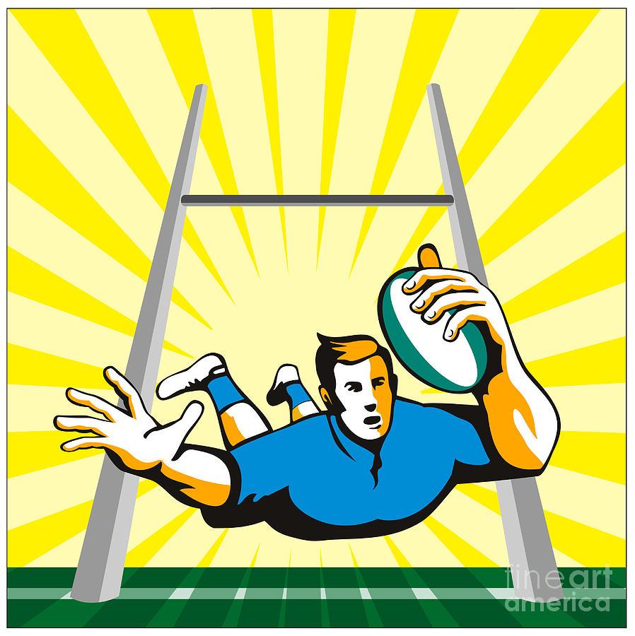 Rugby Digital Art - Rugby Player Try by Aloysius Patrimonio