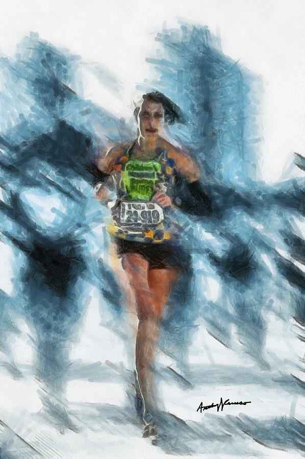 Portrait Painting - Runner by Anthony Caruso
