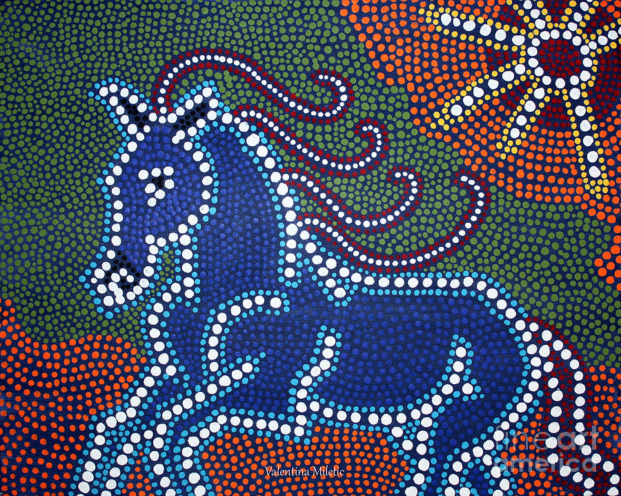 Running Horse Dot Painting By Valentina Miletic Painting
