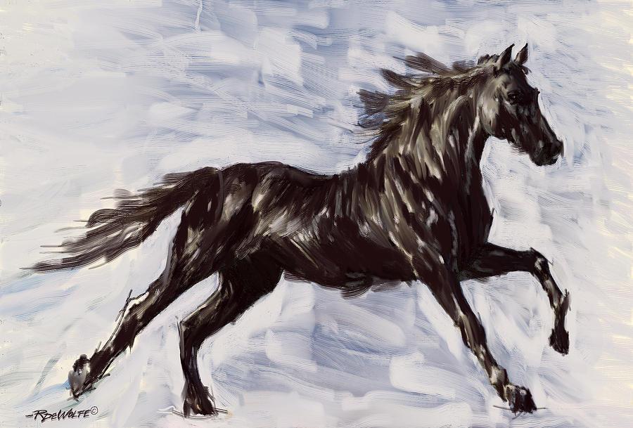 Horse Digital Art - Running Horse by Richard De Wolfe