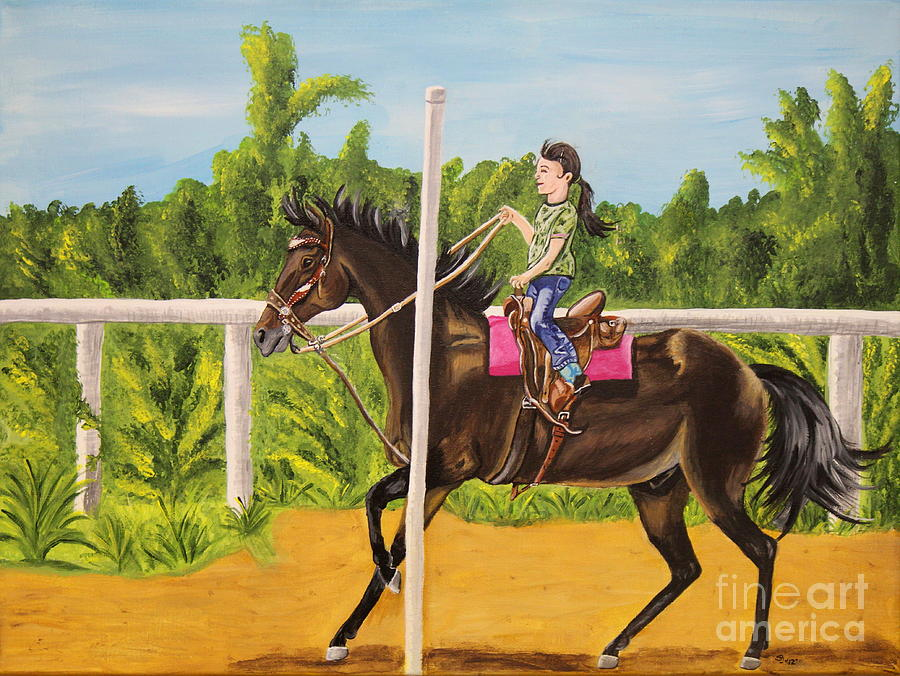 Horse Painting - Running The Poles by Sheri LaBarr