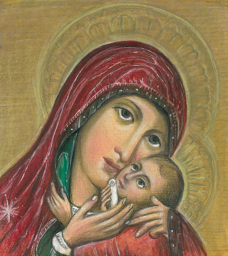 Madonna And Infant Drawing - Russian Icon  by Linda Nielsen