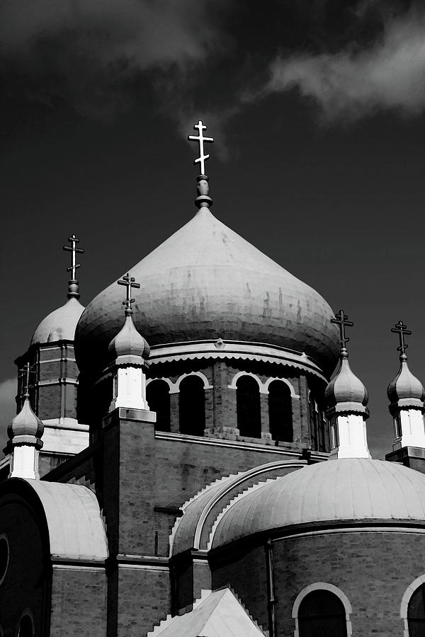 Russian Orthodox Church Bw Photograph