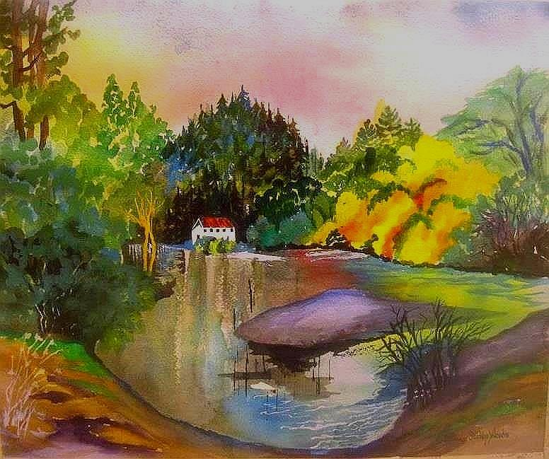 Russian river dream painting by esther woods - The hideout in the woods an artists dream ...
