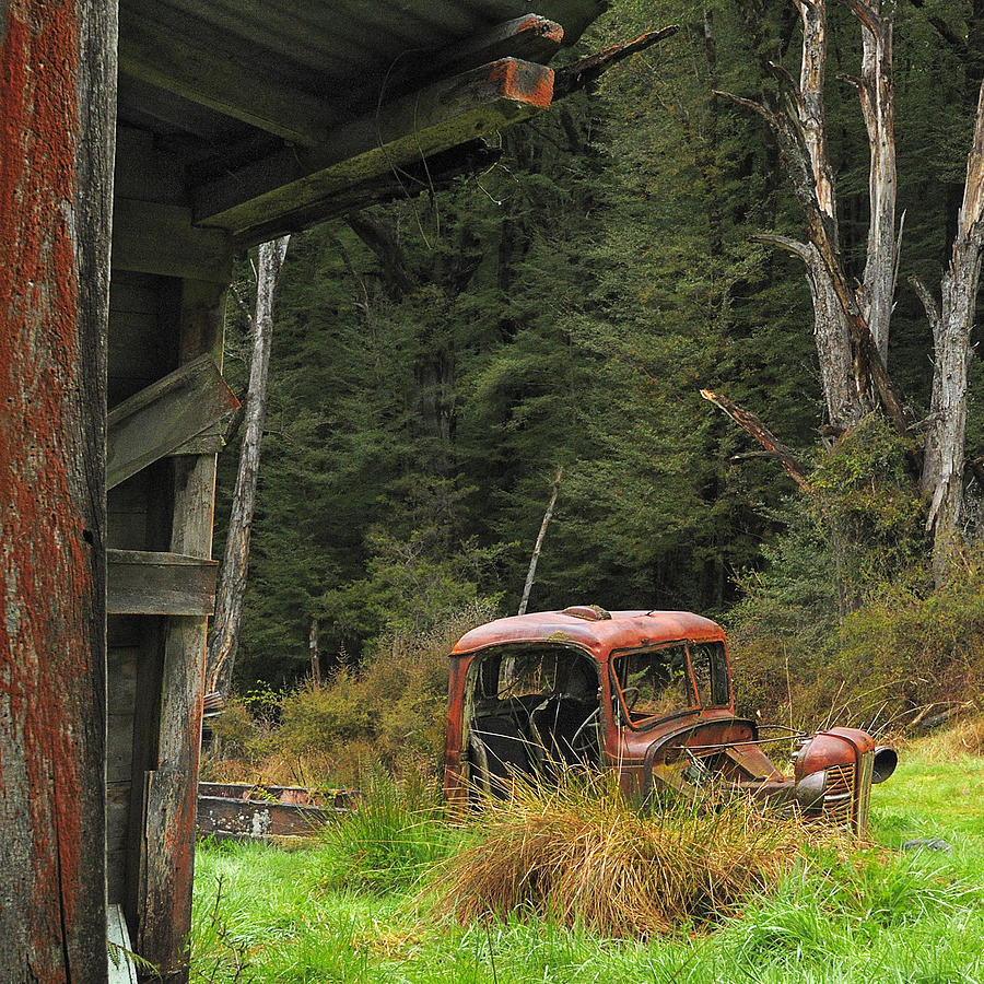 Truck Rust Decay New Zealand Photograph - Rusted Truck by Barry Culling