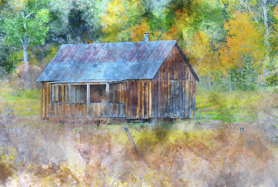 Rustic cabin among sierra nevada fall aspen trees in hope for Sierra nevada cabine