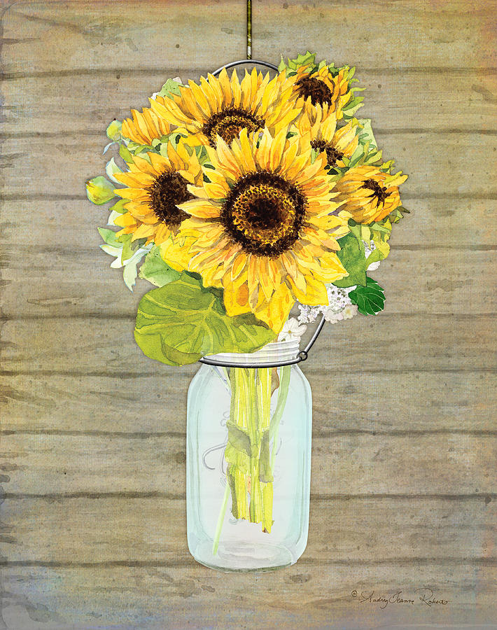 Rustic Country Sunflowers In Mason Jar Painting By Audrey