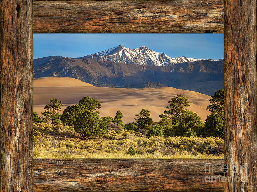 Rustic wood window colorado great sand dunes view for Wood windows colorado