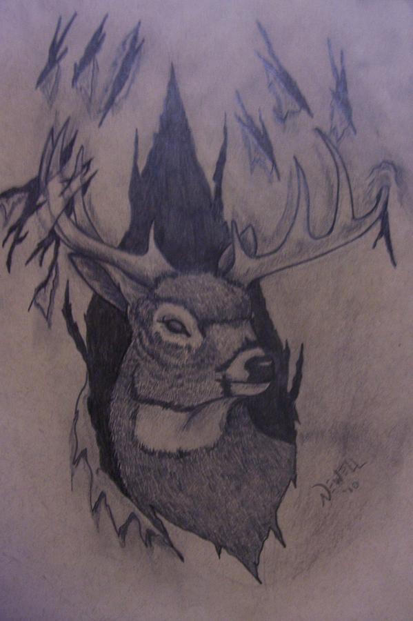 Deer Drawing - Rut Rage by Chris Newell
