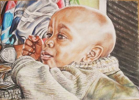 Rwanda Pastel - Rwandian Boy by Gordana Dokic Segedin