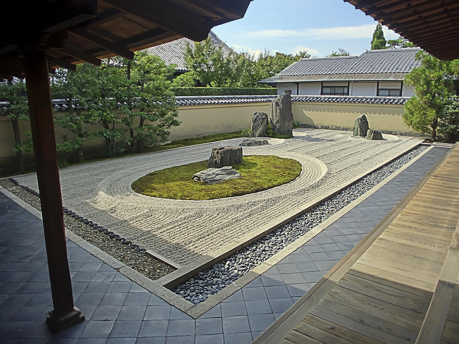 Zen Photograph - Ryogen-in Zen Rock Garden - Kyoto Japan by Daniel Hagerman