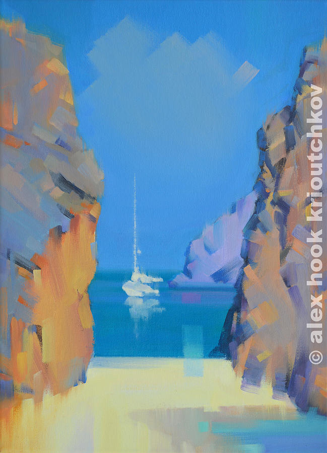 Seascape Painting - Sa Calobra by Alex Hook Krioutchkov