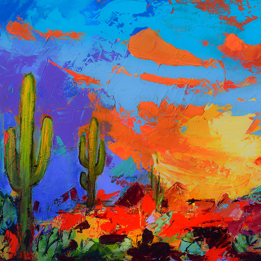 Saguaros Land Sunset By Elise Palmigiani - Square Version Painting