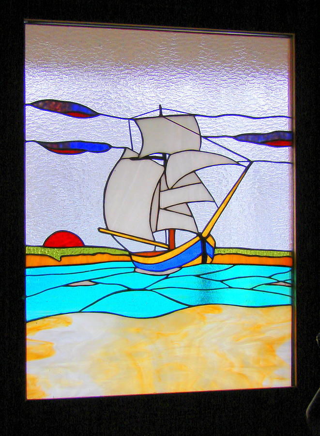 Stairway Case Landing Stained Glass.  Glass Art - Sail Boat by Traverse Artglass