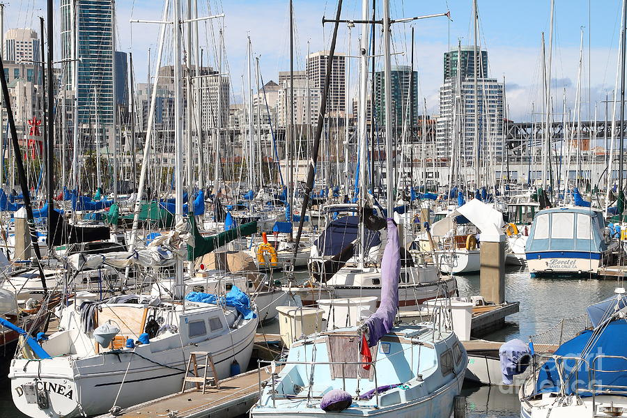 San Francisco Photograph - Sail Boats At San Francisco China Basin Pier 42 With The San Francisco Skyline . 7d7675 by Wingsdomain Art and Photography