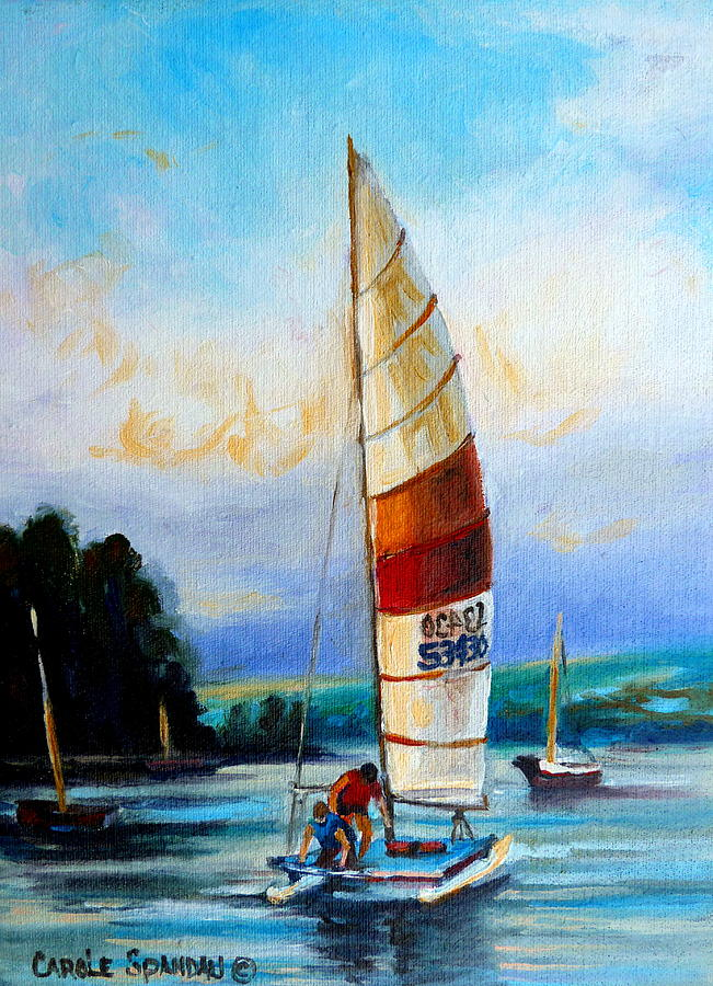 Sail Boats On The Lake Painting - Sail Boats On The Lake by Carole Spandau