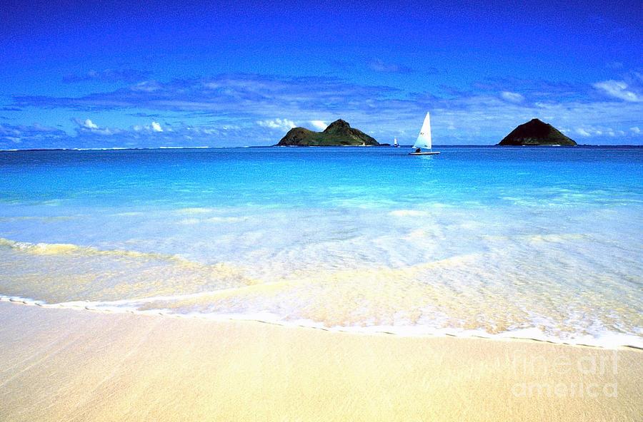 Lanikai Beach Photograph - Sailboat And Islands by Thomas R Fletcher