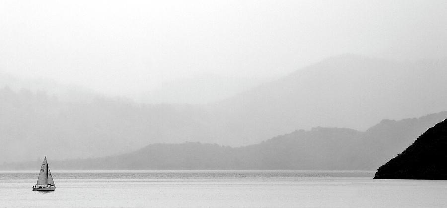 Misty Digital Art - Sailboat On New Zealands Cook Strait by Mark Duffy