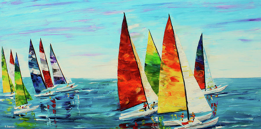 Sailboat Race Painting By Kevin Brown