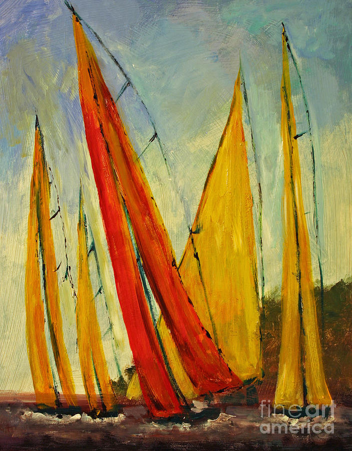 Sailboats And Abstract 2. Sailing Painting - Sailboat Studies 2 by Julie Lueders