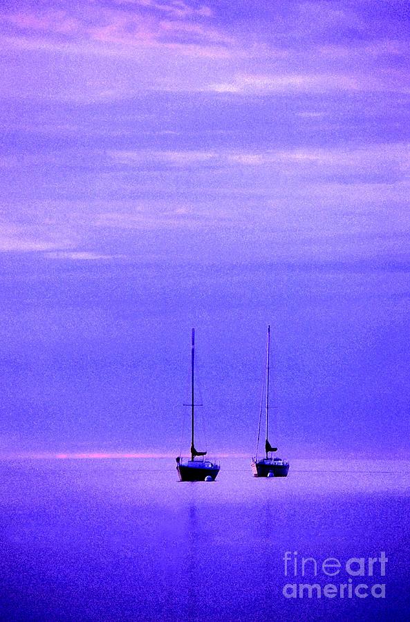 Sailboats Photograph - Sailboats In Blue by Timothy Johnson