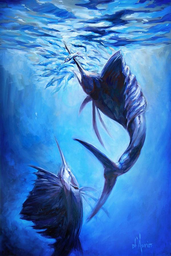 Sailfish Painting - Sailfish And Ballyhoo by Tom Dauria