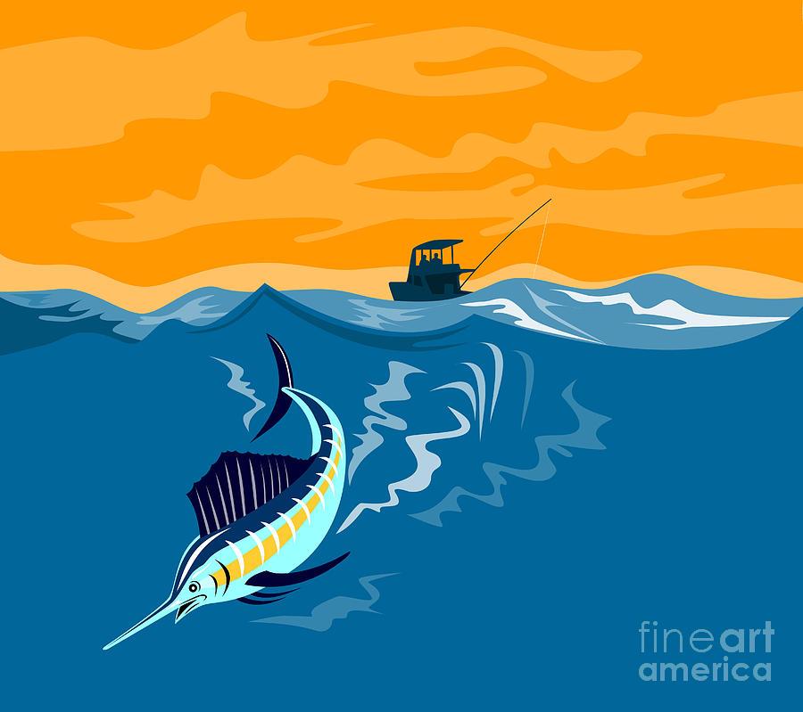 Sailfish Fishing Boat Digital Art