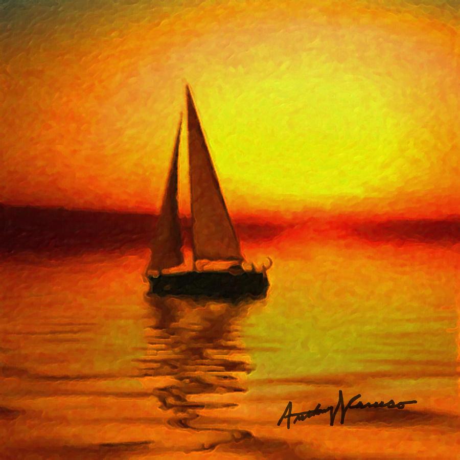 Sailing At Sunset Painting