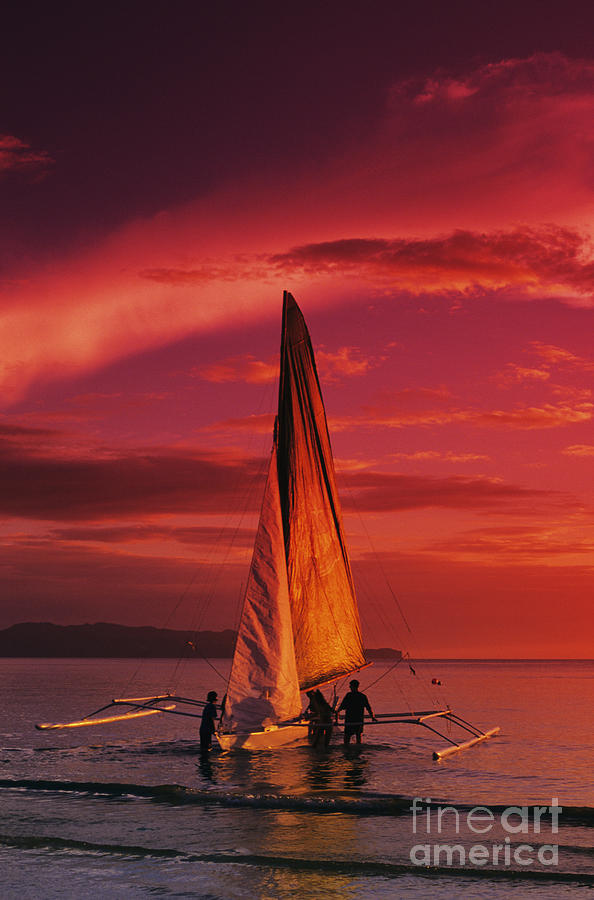 Sailing, Boracay Island Photograph by William Waterfall - Printscapes
