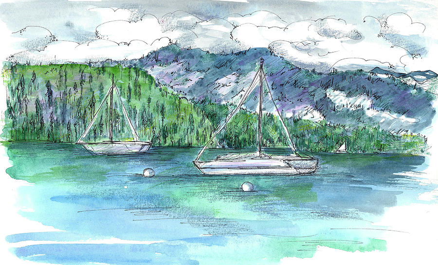 Lake Tahoe Painting - Sailing Lake Tahoe by Cathie Richardson