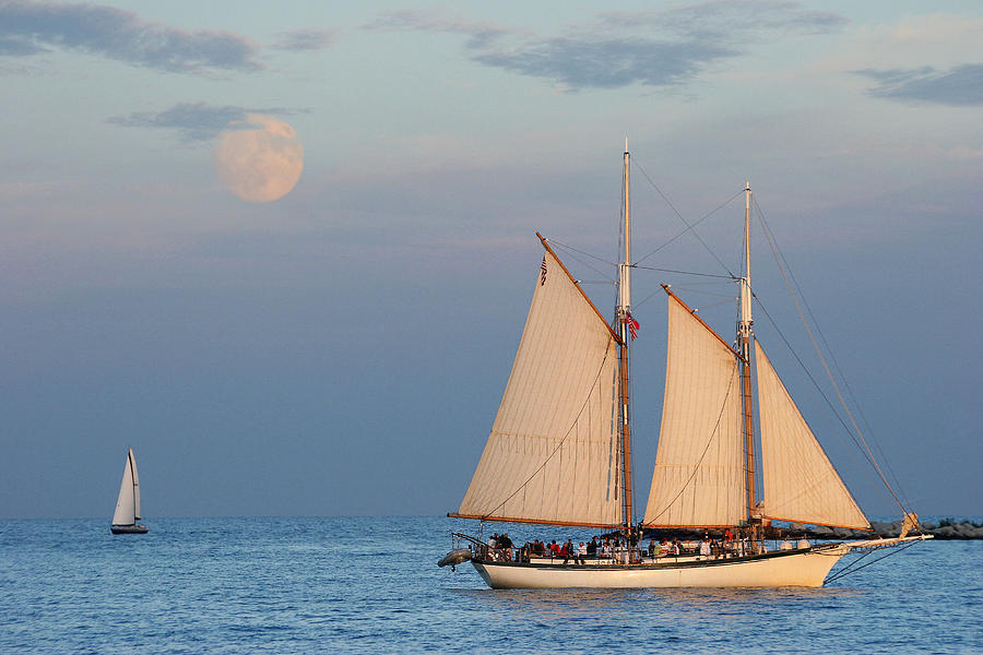 Tallship Photograph - Sailing Ship With Moon by Abhi Ganju