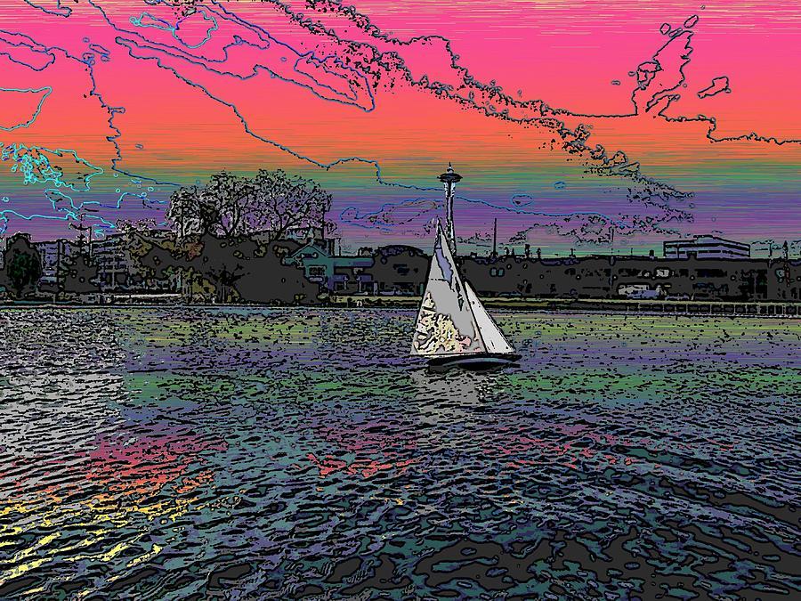 Sail Digital Art - Sailing South Lake Union by Tim Allen