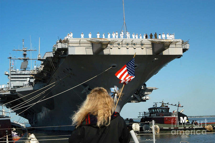 Color Image Photograph - Sailors Aboard Aircraft Carrier Uss by Stocktrek Images